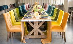 La Tavola Fine Linen Rental: Assorted Velvet Table Runners | Photography: Studio EMP, Floral Design: Louloudi Floral Design, Coordinating Velvet Chairs: Found Vintage Rentals
