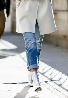 Metallic silver ankle boots and cuffed denim   See All the Best NYFW Street Style this Fall 2016 @stylecaster