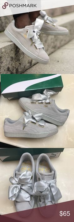 """Puma Suede Heart Ribbon Laces Used once, like new. Only show sign of slight normal wear on bottom of sole. Grey suede, glitter tone midsole. Comes with ribbon and regular laces. Women's size 8.5. Inside shoe it's marked as """"Sample"""". I got these directly sent from Puma. 100% authentic guaranteed. Shoes Sneakers"""