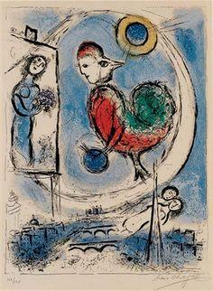 """Chagall, Pintor De Sonhos...""""O Galo Em Paris"""",litografia,1958"""