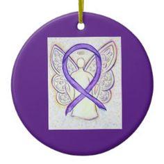 Orchid Awareness Ribbon Angel Custom Art Holiday Ornaments