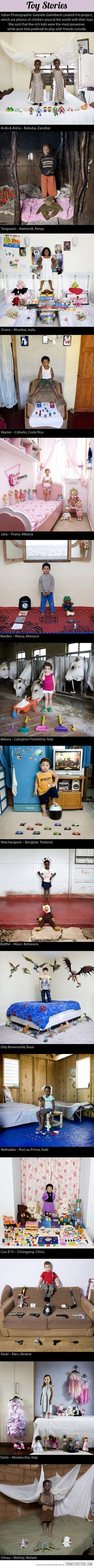 Italian photographer Gabriele Galimberti created this project, which are photos of children around the world with their toys. She said that the rich kids were the most possessive, while poor kids preferred to play with friends outside.
