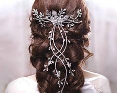 Bridal Hair Vine Wedding hair vine Flower hair vine Long hair