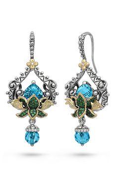 Zen Garden Lotus Earrings – Diamond, Tsavorite & Swiss Blue Topaz – Barbara Bixby
