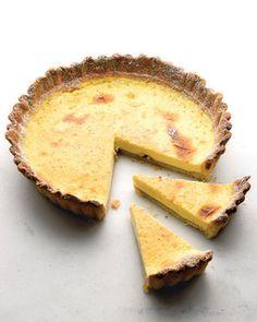 Classic Egg Custard Pie with Lots of Nutmeg - Martha Stewart Recipes Tart Recipes, Dessert Recipes, Sweet Recipes, Pastry Dough Recipe, Martha Stewart Recipes, Pastry Shells, Sweet Pastries, Just Desserts, Custard Desserts
