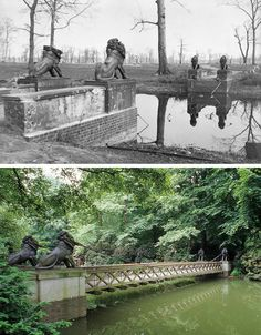 Löwenbrücke 1945/2015. Located in the southwestern corner of the Tiergarten, the Lion's bridge spans one of the waterways of Neuer See. The cast iron figures were modelled by the sculptor Christian Daniel Rauch in 1838.