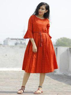 Red Orange Ikat Dress With Box Pleats & Side Pockets - Kalamkari Dresses, Ikkat Dresses, Frock Fashion, Fashion Dresses, Midi Dresses, Indian Designer Outfits, Designer Dresses, Frock Patterns, Kurti Patterns
