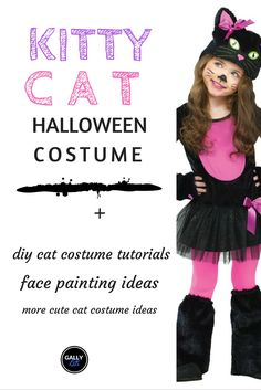 These kids cat costumes for Halloween will make your toddler or older kid look so adorable. Cute Cat Costumes, Halloween Costumes For Girls, Diy Costumes, Toddler Cat Costume, Cat Girl Costume, Cute Toddlers, Cute Kids, Kitty Face Paint, Costume Tutorial