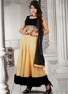 Dazzling Diva Black & Cream Super Net Embellished  #Salwar #Kameez #clothing #fashion #womenwear #womenapparel #ethnicwear