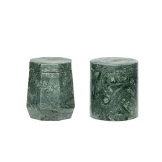 Green marble storage jar with lid in a set of 2. Product number: 510208 - Designed by Hübsch