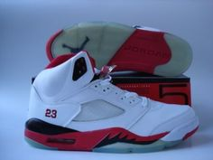 Jordans Shoes Jordan 5 White Fire Red Black [Jordan 5 - A combination of red and black, with a white leather upper, and a clear outsole. They also feature a 23 stitched into the heel of the shoe, as well as the Jumpman logo at the back. Black Jordans, Cheap Jordans, Air Jordans, Michael Jordan Shoes, Air Jordan Shoes, Jordan V, Jordan Retro, Jordan Outlet, Wholesale Nike Shoes