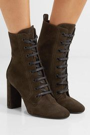 LouLou lace-up suede ankle boots
