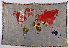Alighiero e Boetti, Mappa, 1971-72, ricamo su tela, cm 147 x 228