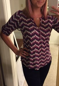 Erika-- please send me this deep purple/gray or the purple/coral/teal print- Pixley Edmond Chevron Print Henley. I like that it's knit, not polyester!