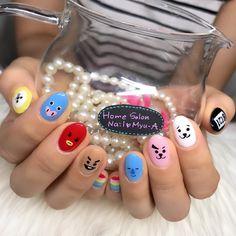 Nail art so amazing 💗 K Pop Nails, Hair And Nails, Gel Nails, Acrylic Nails, Nail Nail, Cute Nail Art, Cute Nails, Pretty Nails, Korean Nail Art