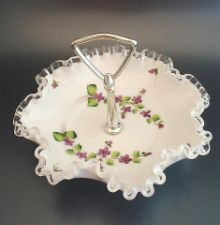 """Fenton Glass Silver Crest """"Violets in the Snow"""" Handled Bonbon ~ First pattern I learned when I started work. Richard Delaney and Louise Piper taught me. Fenton Glassware, Vintage Glassware, Sweet Violets, Mccoy Pottery, Glass Company, Vintage Dishes, Antique Glass, Glass Collection, Vanity Set"""