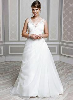 Wedding Dresses - $220.45 - A-Line/Princess V-neck Chapel Train Organza Wedding Dress With Ruffle Beading (0025059068)
