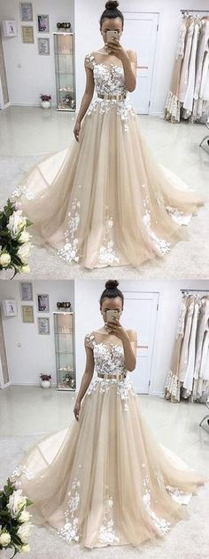 A-line prom dresses,Champagne Bateau Applique Floor Length Tulle Evening Dress Prom Dresses #champagne #lace #longpromdress #eveningdress #promdress #promgown