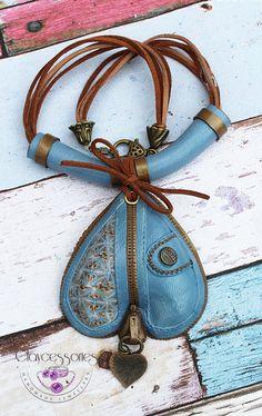 Denim necklace-Polymer clay necklace-Denim by claycessories