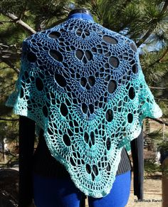 Blue Green Swallowtail Butterfly Scalloped Triangle Cashmere Shawl Hand Crocheted Soft Luxurious Ready to Ship Holiday Gift by SplitRockRanch on Etsy