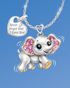 Never Forget I Love You Engraved Elephant Necklace With Heart Charm - a gift that a special daughter, granddaughter, or niece will love wearing!