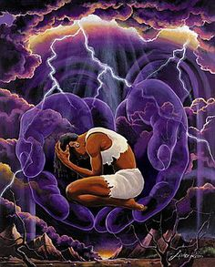 In GOD'S Hand. Woman bowed over in the hands of God. Beautiful purple prophetic art painting and lightening.