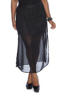 Plus-Size Chiffon Overlay Maxi Skirt only $9.99