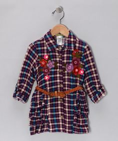 Another great find on #zulily! Purple Plaid Floral Ruffle Dress - Girls by Little Mass #zulilyfinds