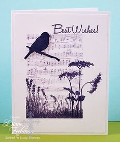 handmde card using Nature Silhouettes 2 Clear Stamp Set from Sweet & Sassy Stamps n… black and white one layer design … die cut bird and a branch … sheet music background … greeting and one flower off the main panel area … grat card! Music Background, Paper Background, Bird Cards, Marianne Design, Card Tags, Card Kit, Kirigami, Sympathy Cards, Paper Cards