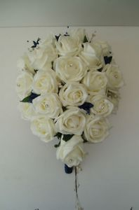 Artificial Ivory & Navy Blue Wedding Flowers Teardrop Shower Bouquet