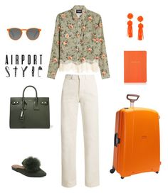 """""""Airport style"""" by sebolita ❤ liked on Polyvore featuring The Kooples, Rachel Comey, GlassesUSA, Yves Saint Laurent, Samsonite, Barneys New York and airportstyle"""