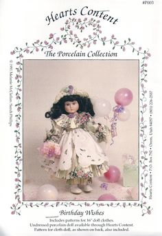 "16"" DOLL SEWING PATTERN - ""Birthday Wishes"" - Collectible - at KrissesKorner on Etsy"