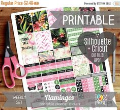 60% SALE Flamingos Printable Planner Stickers, Erin Condren Planner Stickers, Weekly Planner Stickers, Watercolor Stickers - SILHOUETTE / CR