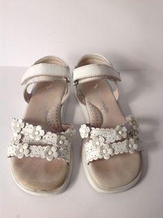 NINA KIDS Girls White Leather Flower Sandals Size US 11 #Nina #Sandals