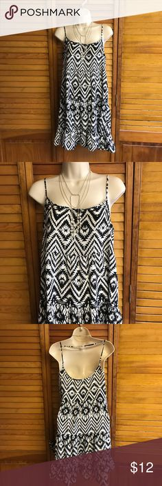 "Maurice's sundress Cute black and white Aztec patterned sundress by Maurices. Straps are adjustable. Could wear as a tunic with leggings as well. Front measures 26"" to hem. (B/6/5) Maurices Dresses Mini"