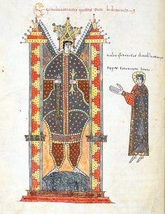 """Daniel before King Nebuchadnezzar"", Jerome, Commentary on Daniel, in ""Beatus de Liebana; 'Silos Apocalypse'"", fol-232v, London British Library - Add. MS 11695, Northern Spain, c.1100"