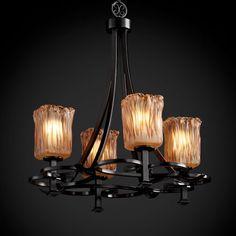 Veneto Luce Arcadia Four-Uplight Matte Black Chandelier