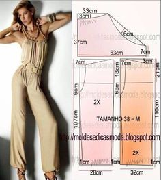 The best DIY projects & DIY ideas and tutorials: sewing, paper craft, DIY. Diy Clothing, Clothing Patterns, Dress Patterns, Sewing Patterns, Sewing Pants, Sewing Clothes, Jumpsuit Pattern, Pants Pattern, Diy Pantalon