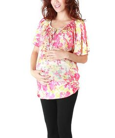 Look at this #zulilyfind! Pink Floral Lynda Maternity & Nursing Top - Women & Plus by Annee Matthew #zulilyfinds
