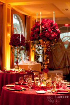 Amber uplighting for a romantic wedding reception