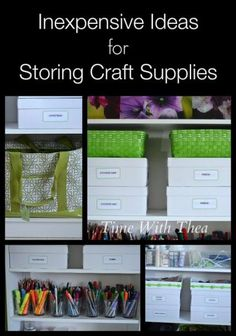 Inexpensive Ideas For Storing Craft Supplies ~ I am excited to share with you how I store my craft room supplies using items from the dollar store, craft store and by hunting through the home for what is already owned. Very simple storage and organization ideas!