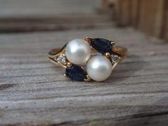 Pearl Sapphire Ring diamond 10k blue by LuceesTreasureChest