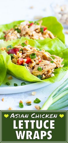 This Asian Chicken Lettuce Wraps recipe is a healthy, easy, gluten-free, and low-carb lunch or dinner recipe that does not require any cooking! Dinner Party Recipes, Lunch Recipes, Healthy Dinner Recipes, Paleo Recipes, Free Recipes, Paleo Meals, Meal Recipes, Chicken Recipes, Asian Chicken Lettuce Wraps