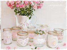 Hochzeitsdeko - Windlicht Vase rosa Hochzeitsdeko Vintage Shabby - ein Designerstück von schoengemachtes- bei DaWanda