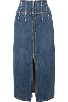 Current/Elliott - The Trilby studded denim midi skirt Jean Skirt, Denim Skirt, Midi Skirt, Fashion Sewing, Denim Fashion, Womens Fashion, Studded Denim, Denim And Lace, Fashion Project