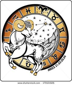 One Aries  rides behind them are symbols of all zodiac signs Horoscope circle. On a white background.Graphic  Illustration.