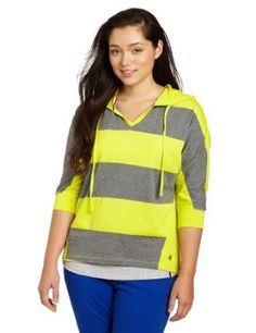 Southpole Juniors Plus-Size Hooded High Low Pullover Stripe Shirt, Lime Green, 1X Southpole. $18.99