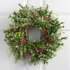 Bright red pepperberries play upon textural spirals of fragrant eucalyptus in our herbal wreath, grown and handcrafted by a family-owned and -operated farm in Northern California. It makes a fresh statement as a Christmas wreath or seasonal decoration for the holidays.