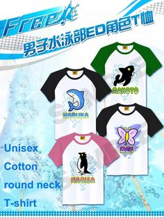 Free! - Iwatobi Swim Club Cosplay Costume Unisex Cotton round neck T-shirt Tee