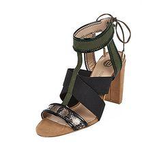 Faux suede upper Elasticated cross over straps Tie-up ankle strap Block heel Heel height 9.5cm